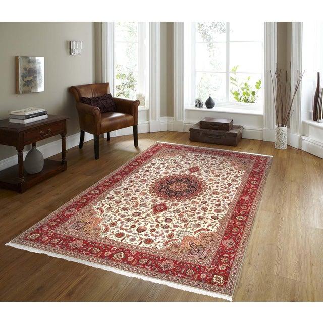 "Pasargad Persian Tabriz Silk & Wool Rug - 8' 3"" X 11' 6"" For Sale - Image 5 of 5"