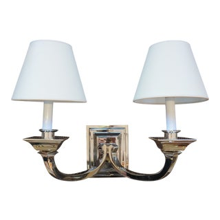 Visual Comfort Polished Nickel Double Sconce For Sale