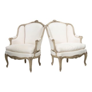 Pair 19th Century Painted Frame Bergeres For Sale