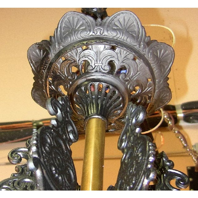 Late 19th Century 19c Bradley & Hubbard Cast Iron 6 Arm Chandelier For Sale - Image 5 of 13