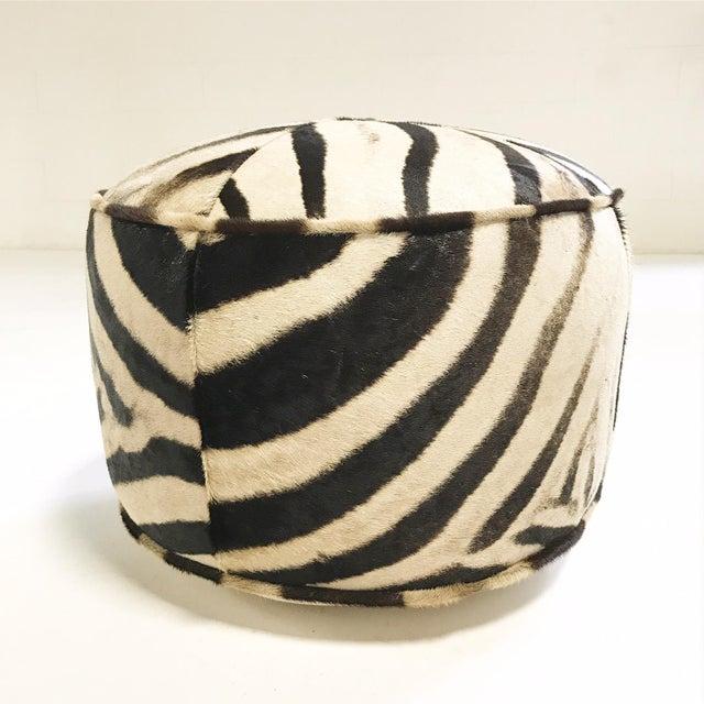 Canvas Forsyth Zebra Hide Pouf Ottoman For Sale - Image 7 of 9