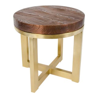 Hand Repousse Copper Woodgrain Top With Brass Base Side Table For Sale