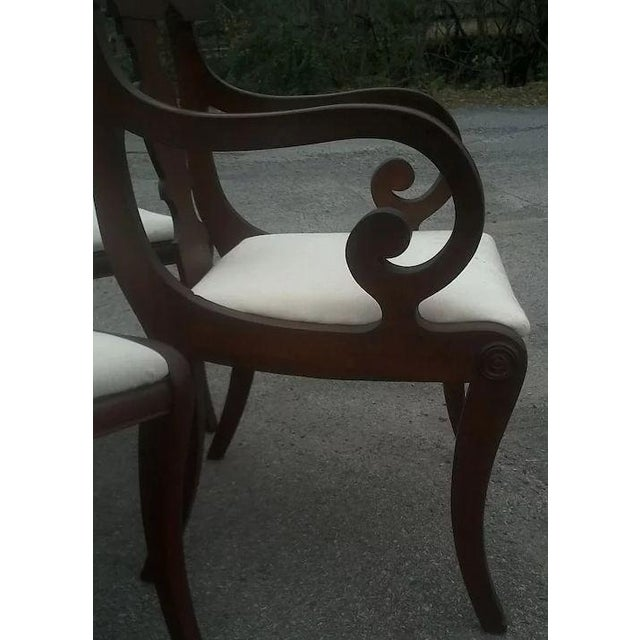 Brown Regency Dining Chairs With Scrolled Arm - Set of 6 For Sale - Image 8 of 12