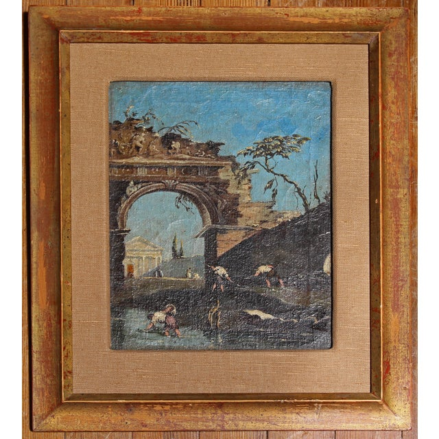 Late 18th Century Oil on Canvas of Ruins & Temple, Italian. For Sale - Image 9 of 9
