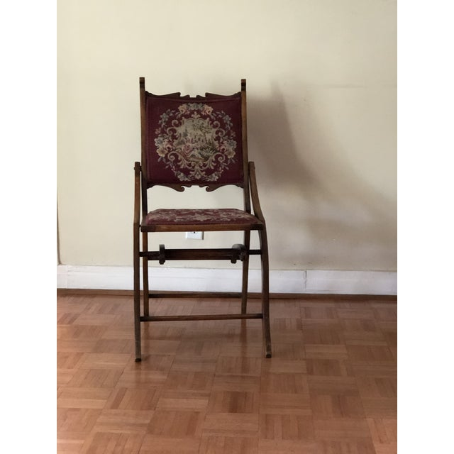 1900s Antique Victorian Tapestry Folding Chair For Sale - Image 13 of 13