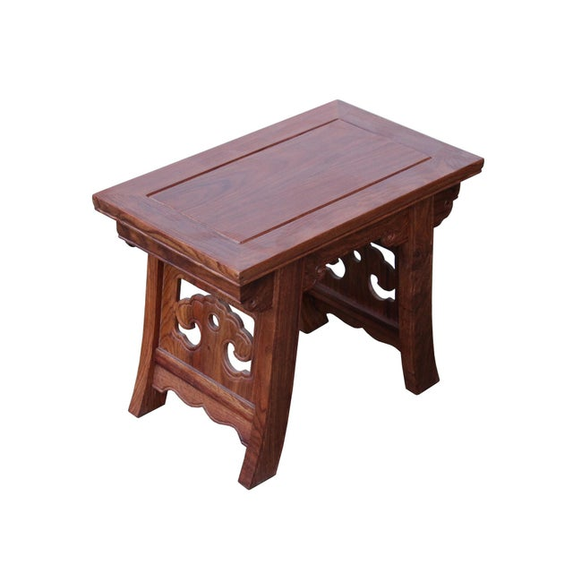 Asian Quality Handmade Ming Style Huali Rosewood Rectangular Stool For Sale - Image 3 of 6