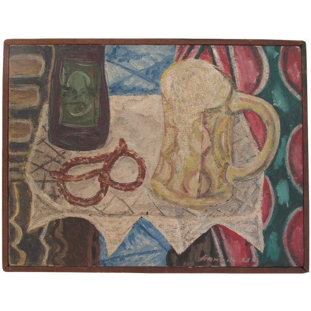 Vintage Painting of Pretzel and Beer Mug - Image 1 of 6