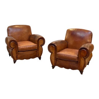 French Art Deco Leather Club Chairs- a Pair For Sale