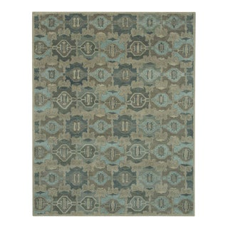 Green & Blue Geometric Hand Tufted Rug - 5′ × 8′