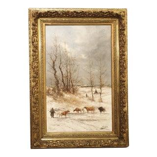 19th Century Belgian Winter Landscape by Jean Hill For Sale