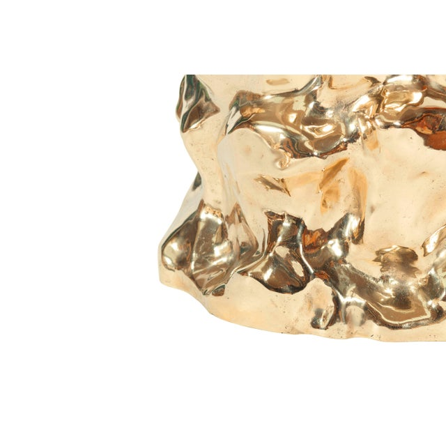 Gold Hand Casted and Polished Bronze Stool For Sale - Image 8 of 9