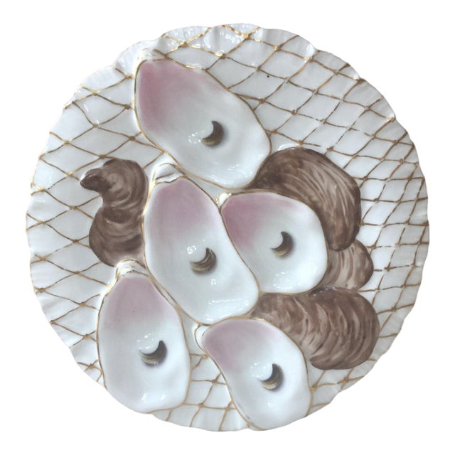 Limoges French Oyster Plate Porcelain With Turkey Pattern For Sale