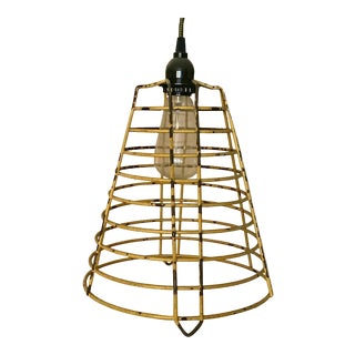 1950s Vintage Industrial Hanging Pendant Cage Lamp