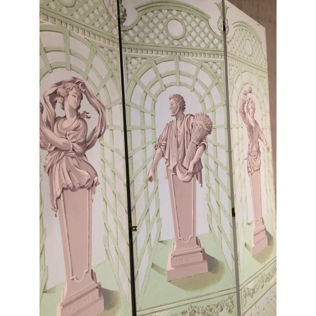 Monumental Hollywood Regency Tromp L'oeil Hand Painted Screen For Sale - Image 4 of 9