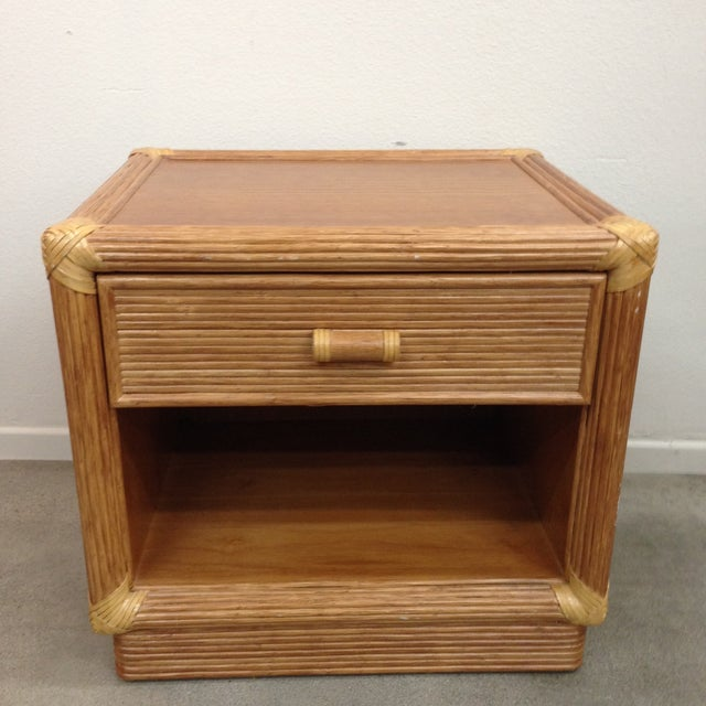 Boho Chic Island Style Wood & Rattan Nightstands - A Pair For Sale - Image 3 of 8