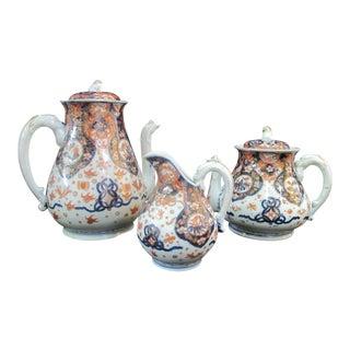 Imari Japanese Floral Dragon Handle Coffee Teapot Creamer - Set of 3 For Sale