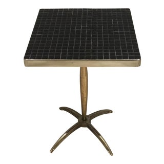 Tile Mosaic & Metal Base Side Table For Sale