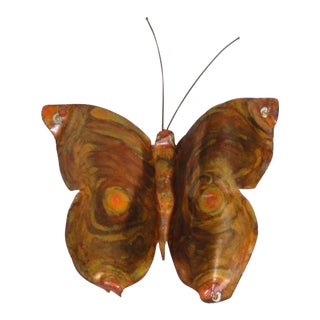 Mid-Century Modern Signed by Artist Copper Butterfly Metal Wall Sculpture For Sale