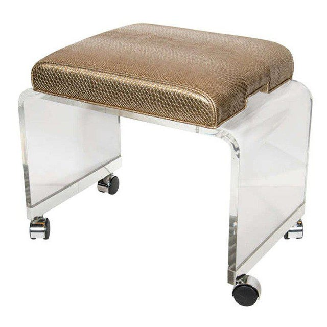 Metal Mid-Century Modernist Waterfall Lucite Stool with Faux Bronze Metallic Python For Sale - Image 7 of 7