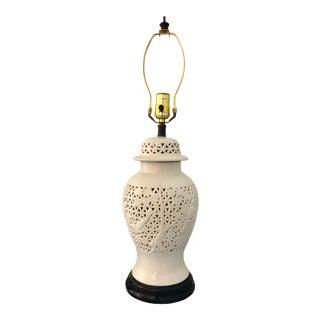 1960s Pierced White Blanc De Chin Porcelain Petite Ceramic Ginger Jar Lamp For Sale