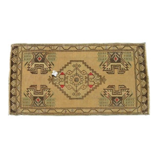 Small Turkish Rug Hand Knotted Distressed Low Pile Area Rug Faded Mat - 1'9'' X 3'4'' For Sale