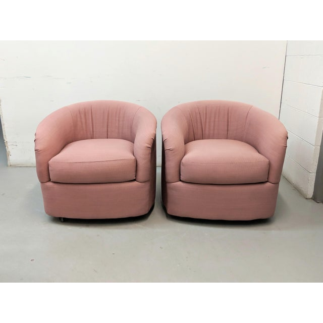 Modern Pink Barrel Back Lounge Chairs- A Pair For Sale - Image 12 of 12