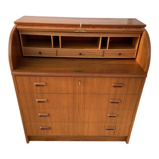 1960s Egon Ostergaard Teak Roll-Top Secretary Desk For Sale