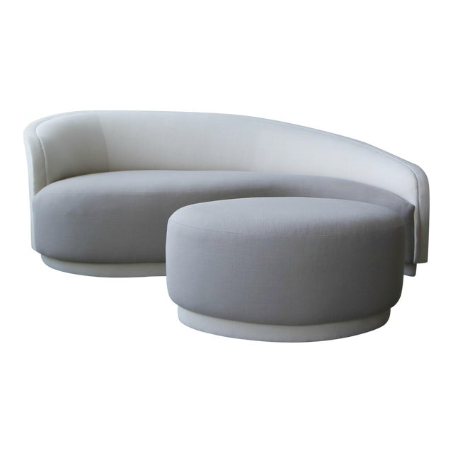 Petite Curved Sofa & Ottoman by Vladimir Kagan for Weiman For Sale