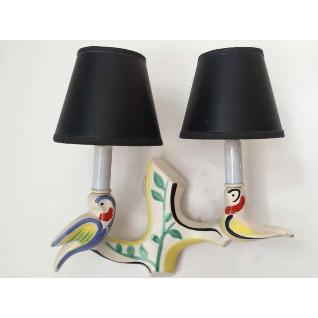 1950s French Art Pottery Wall Lights in Jouve Style - a Pair For Sale In New York - Image 6 of 9