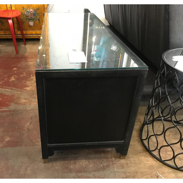 Asian Century Furniture Black Lacquer Console Cabinet For Sale - Image 3 of 10