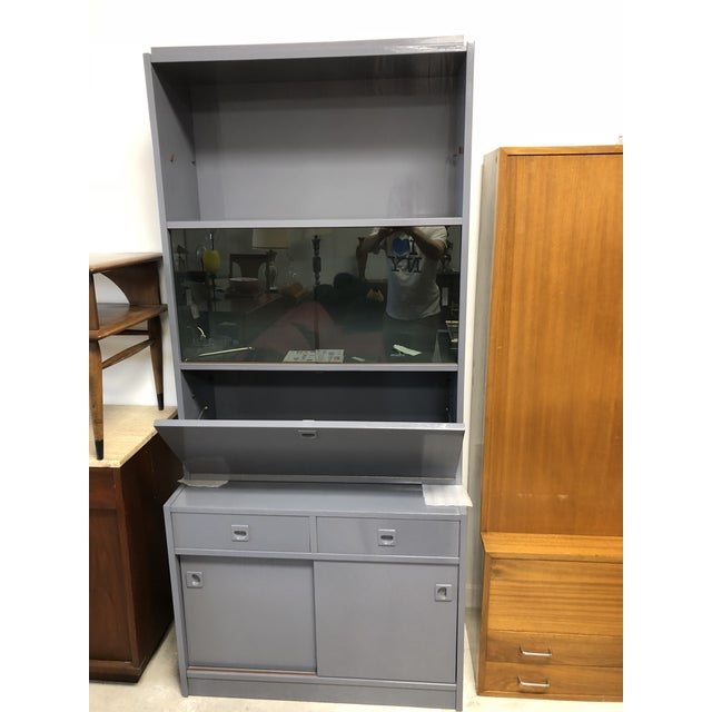 1970s Danish Modern Grey Lacquered Secretary Desk For Sale - Image 11 of 11