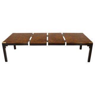 Large Burlwood Dining Table With Brass Accents and Two Extension Leaves Boards For Sale