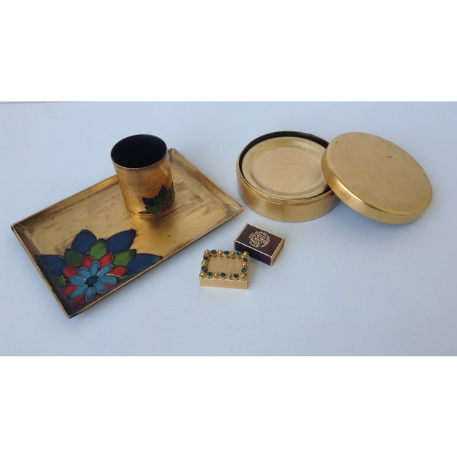 Gold Leaf Lacquered Smoke & Coaster Set For Sale - Image 4 of 11
