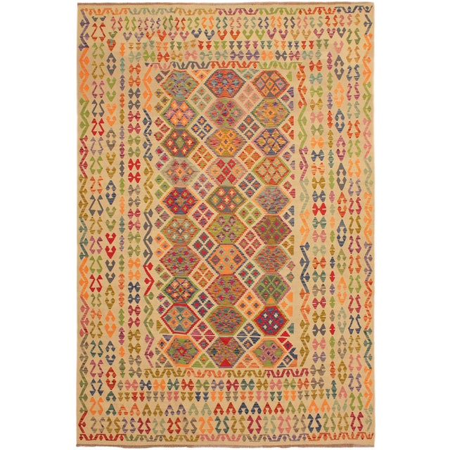 Eulah Ivory/Blue Hand-Woven Kilim Wool Rug -8'6 X 11'5 For Sale