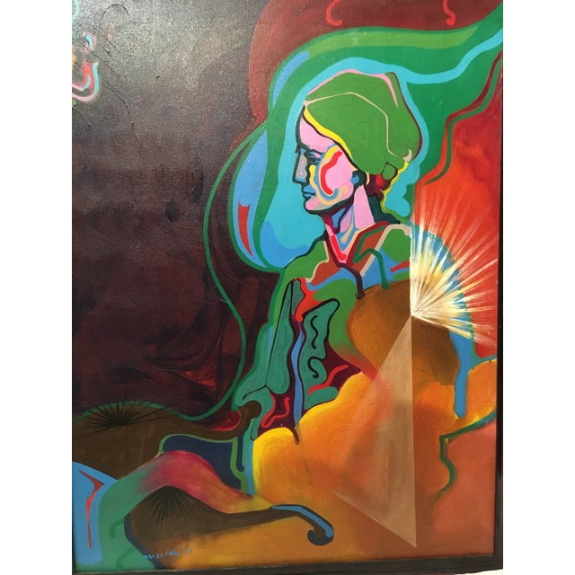 Vintage Mid-Century Colorful Figurative Abstract Oil on Canvas Portrait Painting For Sale - Image 4 of 12