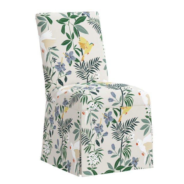 Cream Slipcover Dining Chair in Belize Chinoiserie Cream For Sale - Image 8 of 8