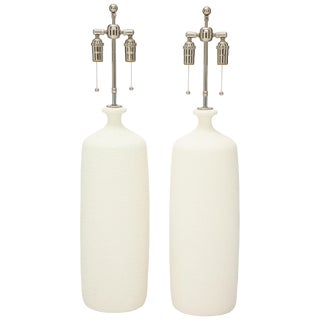 Pair of Large Popcorn Textured Ceramic Lamps For Sale