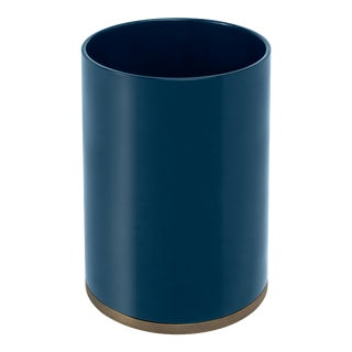 Veere Grenney Collection Round Bin in Indigo Blue For Sale