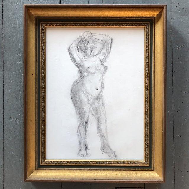 Glass Original Vintage Female Nude Charcoal Sketch For Sale - Image 7 of 7