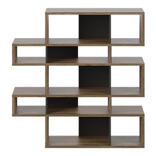 Ricardo Marçal Contemporary Walnut Black Accent Bookcase Shelving For Sale