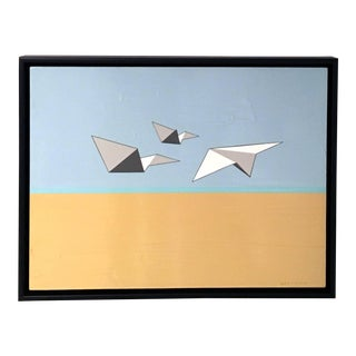 Jason Wright, Away We Go, Oil and Acrylic Painting, Paper Airplanes, Blue, Brown, White For Sale