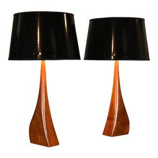 Pair of Danish Modern Biomorphic Teak Lamps by Johannes Aasbjerg For Sale
