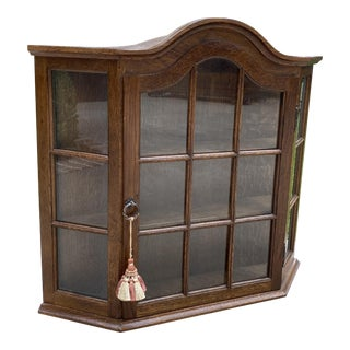 1940s Vintage French Country Oak Hanging Bonnet Top Domed Curio Cabinet Vitrine For Sale