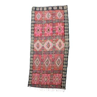 "Boujad Vintage Moroccan Rug, 3'9"" X 8'3"" For Sale"