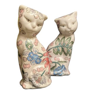 """7.5"""" Vintage Chinese Export Cats Embossed Porcelain Figurines - a Pair For Sale"""