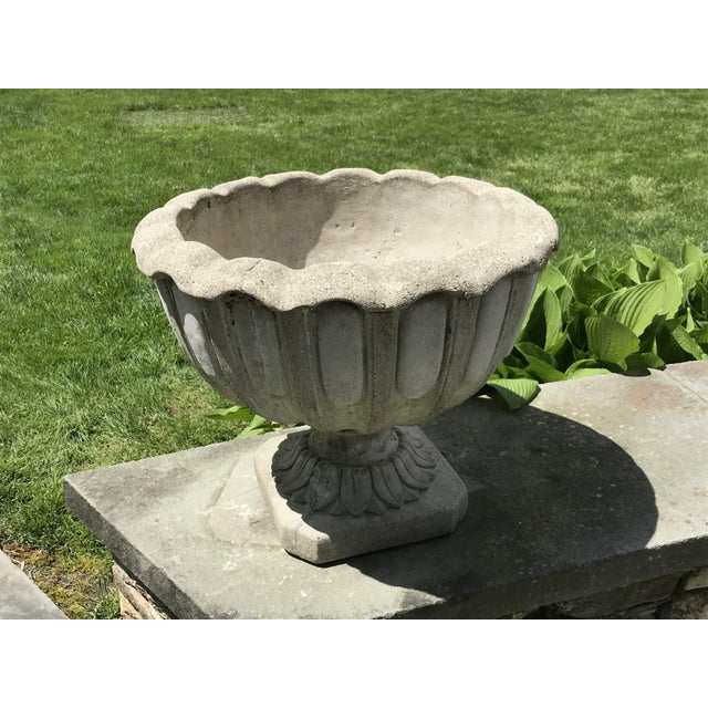 """Elegant Antique French """"Chamborg"""" planter. Monumental cast stone jardiniere sits on a solid square base and features a..."""