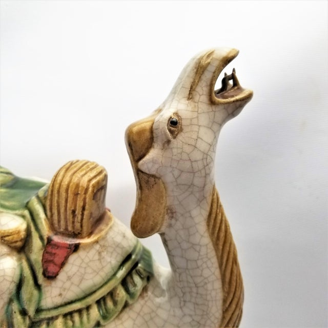 Clay Vintage Chinese Ceramic Camel Buddha Statue Sculpture - Tang Style - Asian Mid Century Modern Palm Beach Boho Chic Chinoiserie For Sale - Image 7 of 12