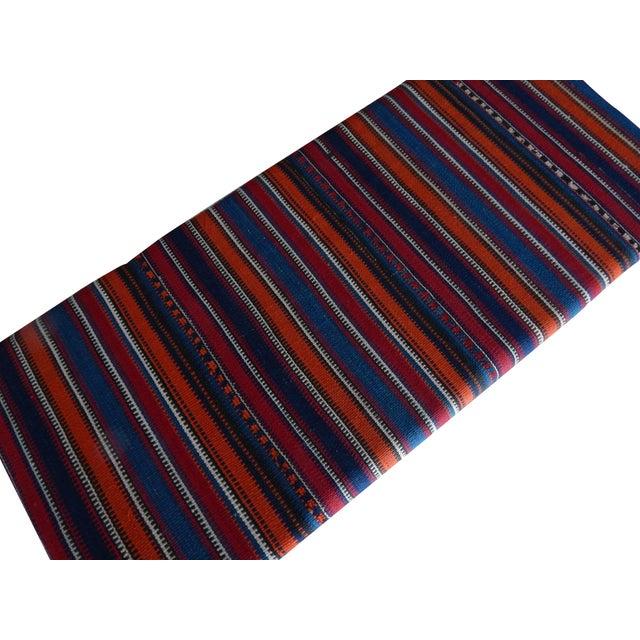 Tribal Kilim Bench With Hairpin Legs, Vintage Kilim Rug Ottoman, Kilim Upholstered Bench With Turkish Kilim Rug For Sale - Image 3 of 10