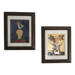Vintage Art Deco Wine Advertisement Framed Prints - A Pair For Sale