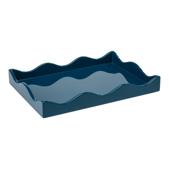 Rita Konig Collection Small Belles Rives Tray in Marine Blue For Sale